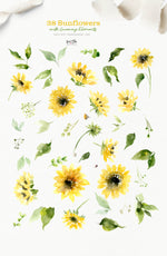 Sunflowers with Greenery Watercolor Design Set