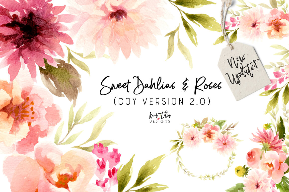 Sweet Dahlias and Roses Watercolor Design Set