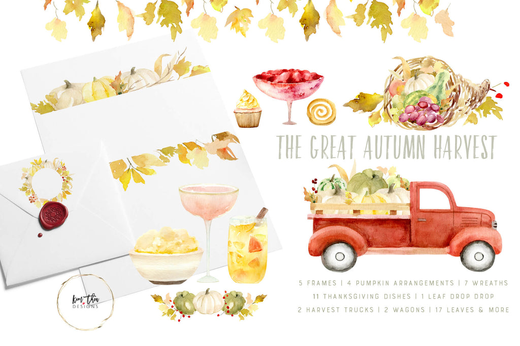 The Great Autumn Harvest Watercolor Design Set