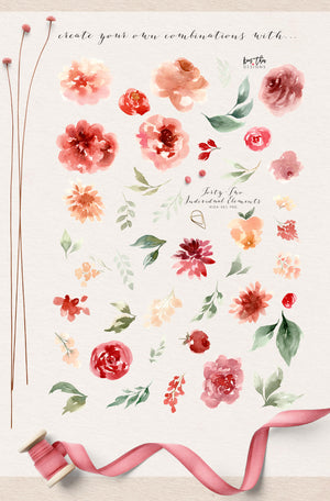 Vintage Red and Peach Design Set
