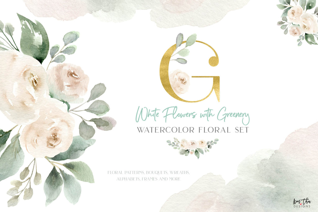 White Flowers with Greenery Watercolor Design Set