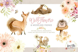 Wildflowers and Woodland Friends Watercolor Design Set