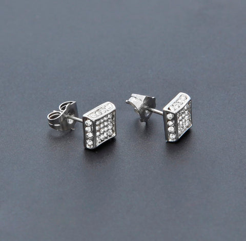 Iced Squared 3D Earrings