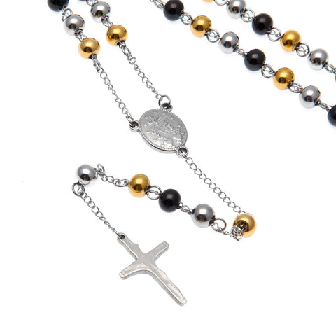 Stainless Steel Rosary - Gold, Silver & Black