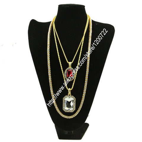 Tennis Chain & Two Jewelled Pendants Set