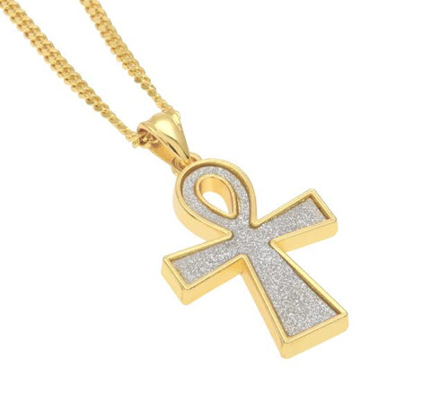 Iced Micro-Paved Ankh Pendant
