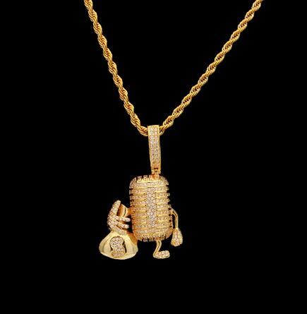 Iced Microphone With Moneybag Pendant