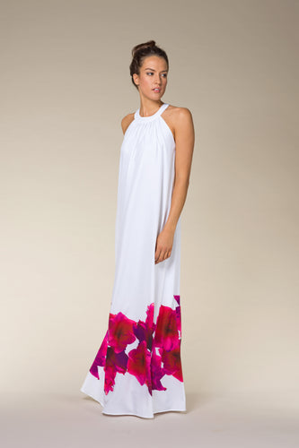 JENNY White & Pink Flower-Print Maxi Dress