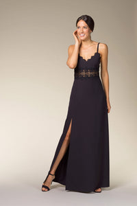 MONA Black Lace Insert Maxi Dress