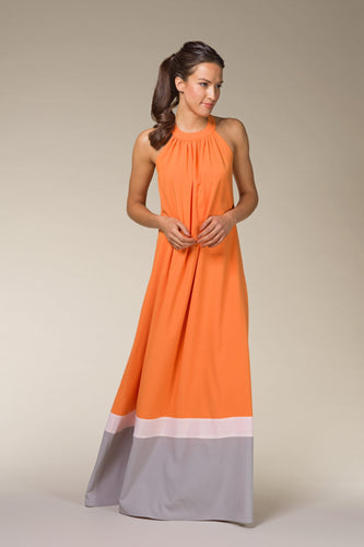 STELLA High-Neck Orange Maxi Dress
