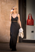 Load image into Gallery viewer, MONA Black Lace Insert Maxi Dress
