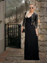 Load image into Gallery viewer, SAM Black Metallic Plisse Maxi Dress