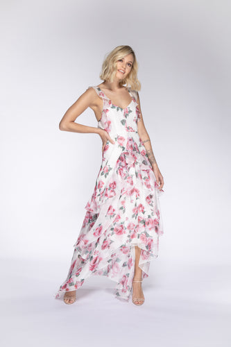 ROSIE Rose Print Ruffle Maxi Dress