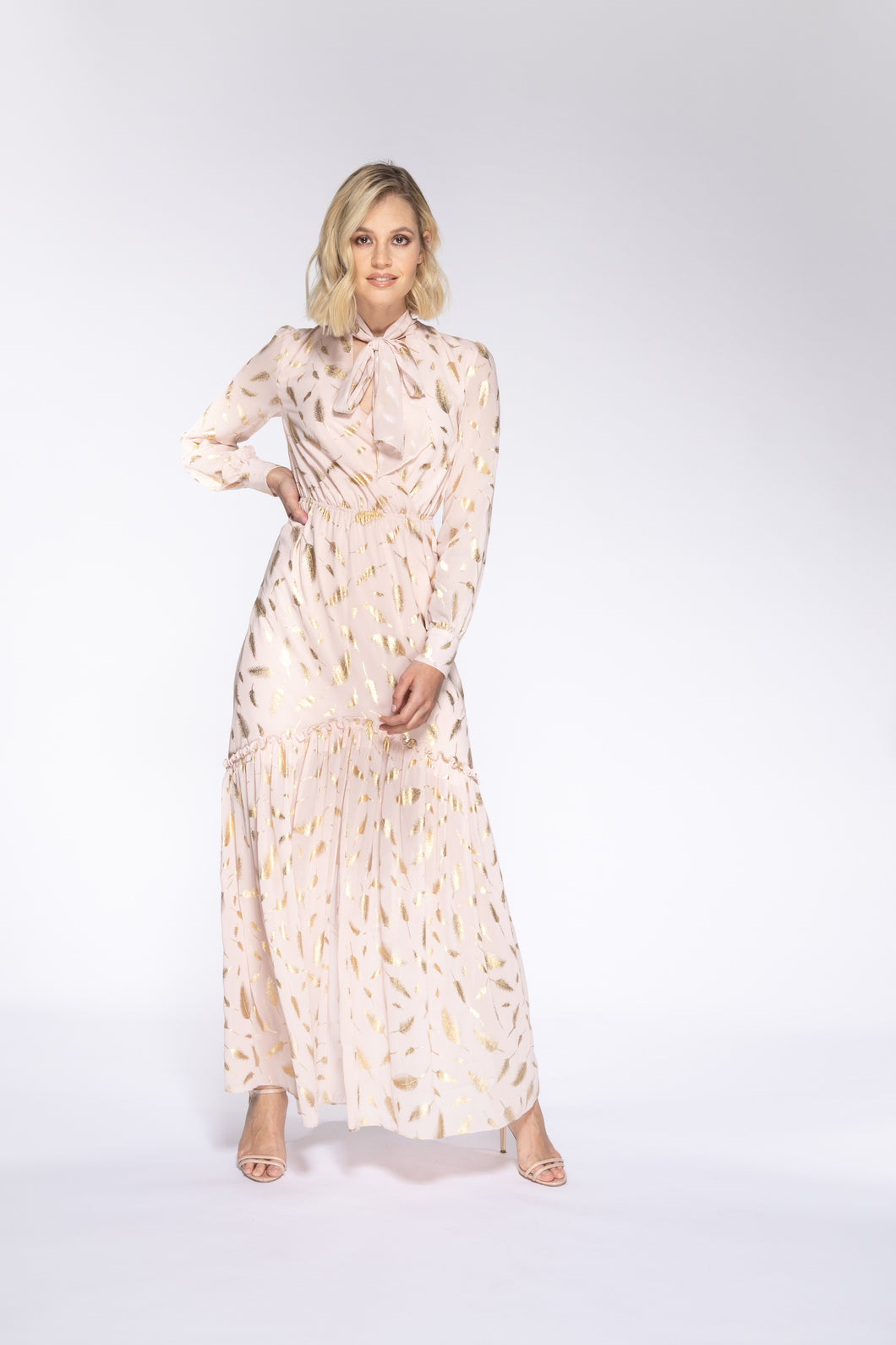CANDICE Gold Print Maxi Dress