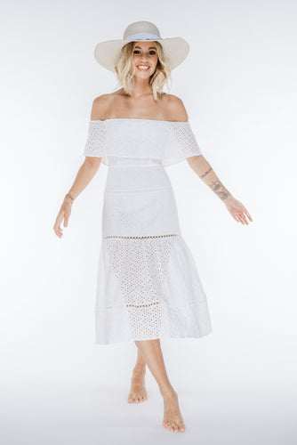 JUSTINE Broderie Anglaise Off-Shoulder Midi Dress