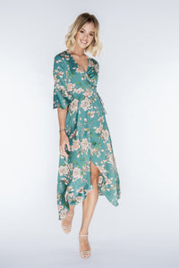 PIPPA Green Floral Ruffle Wrap Dress