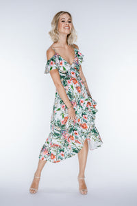 ROMY Floral Cold Shoulder Midi Dress
