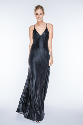 SAMANTHA Black Metallic Plisse Maxi Dress