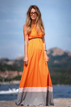 Load image into Gallery viewer, STELLA Orange Colourblock Maxi Dress