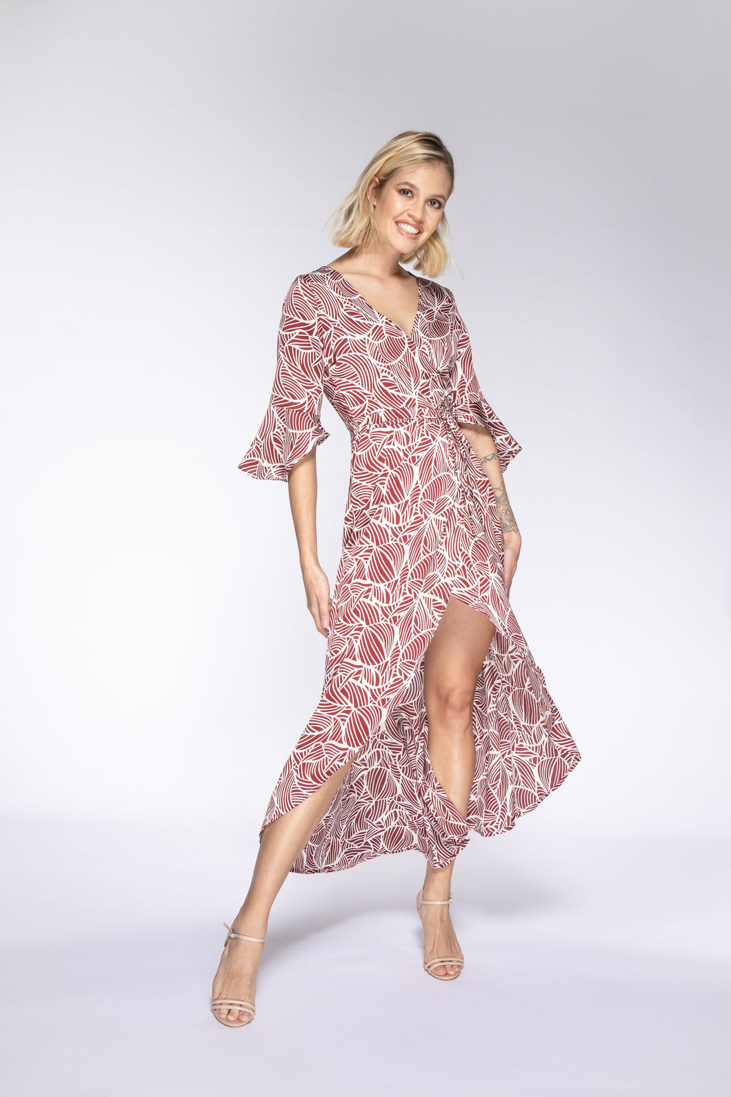LULU Floral Ruffle Wrap Dress