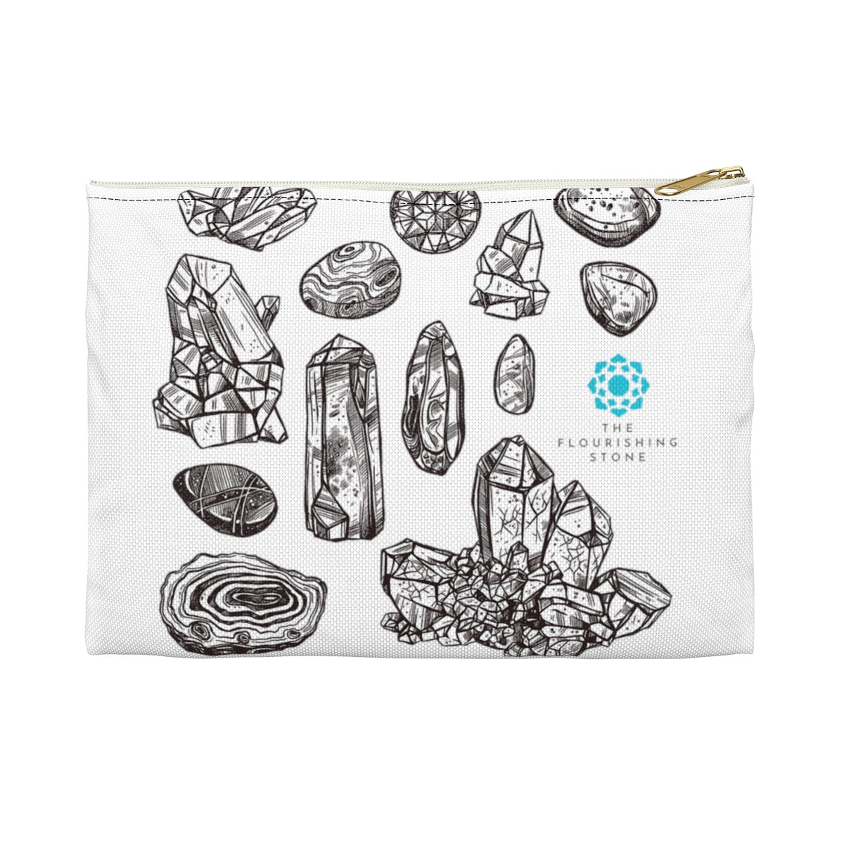 Black N White Crystals Accessory Pouch