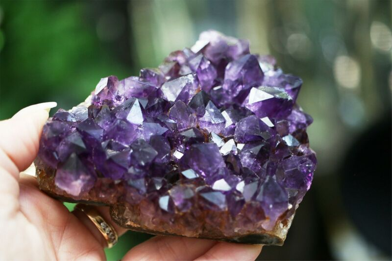 "Amethyst Cluster AA Deep Purple Quartz LARGE 4"" Geode Druzy 374g Crystal 13.2 oz"