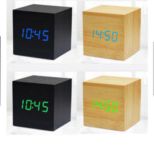 Load image into Gallery viewer, Mini Cube LED Wooden Alarm Clock