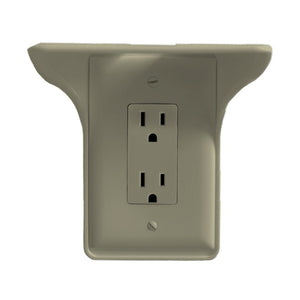 Wall Outlet Shelf Power Perch, White/Black/Almond