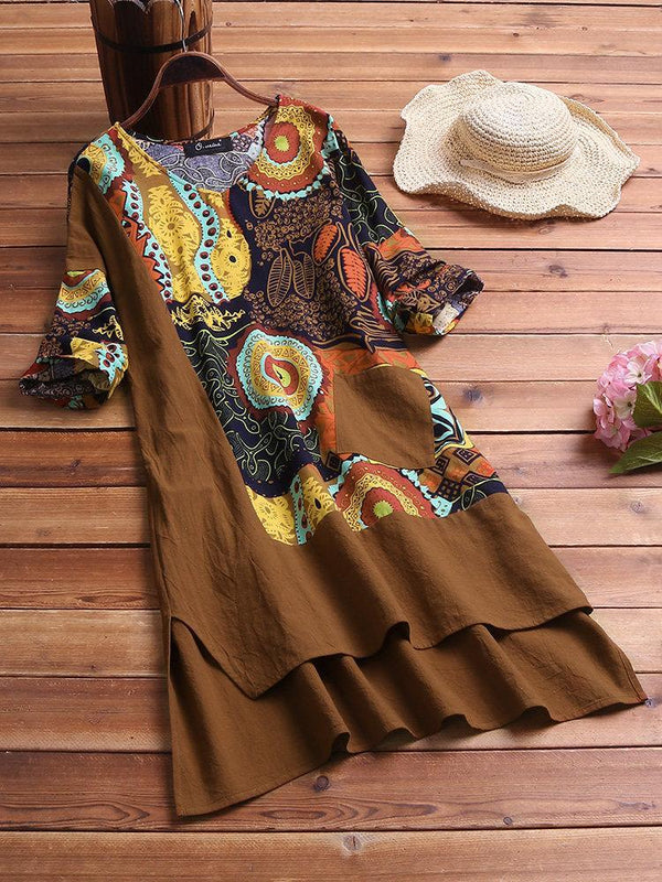 Vintage Patchwork High Low Hem Print Half Sleeves Plus Size Dress