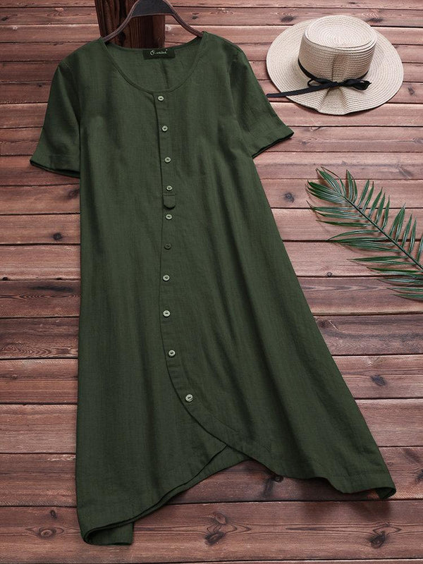 Vintage Solid Color Blouse Dresses for Women