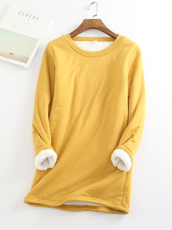 Yellow Casual Fleece-Blend Round Neck Solid Long Sweatshirt