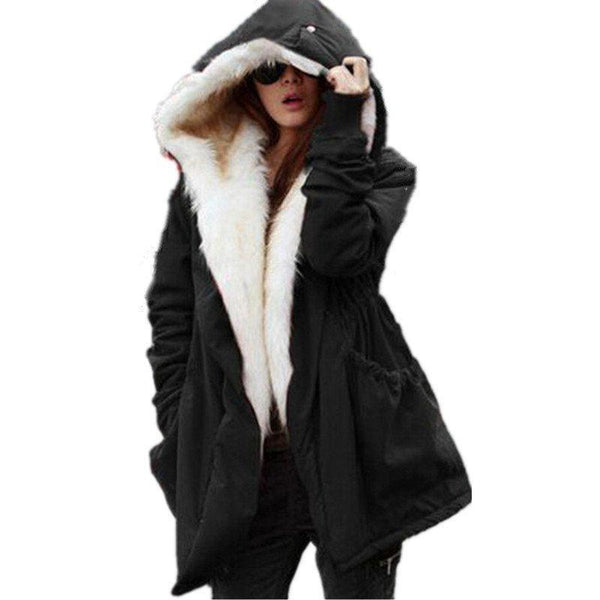 Solid Fur Parka Hooded Winter Coat