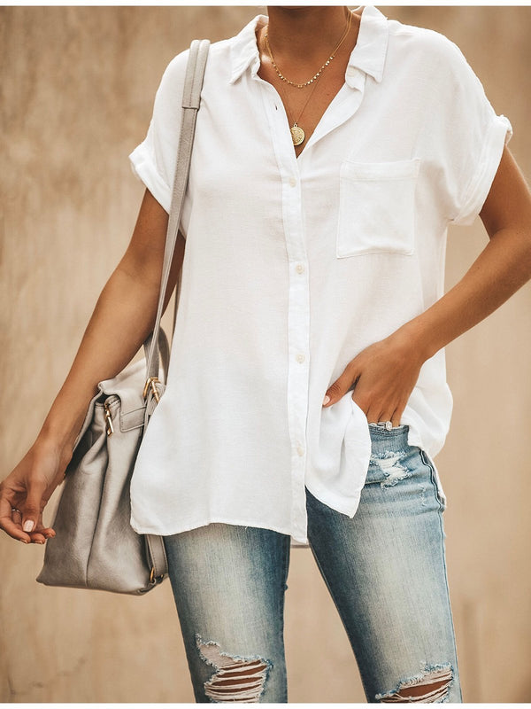 Relaxed Fit Collared Short Sleeves BUTTON DOWN Blouse