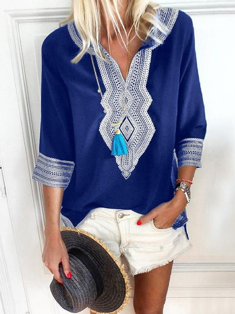 Patchwork Printed Casual 3/4 Sleeve Blouse