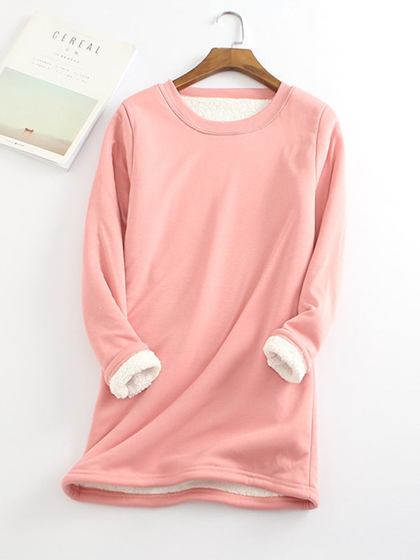 Pink Casual Fleece-Blend Round Neck Solid Long Sweatshirt