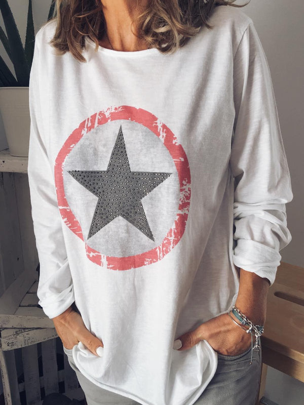 White Cotton-Blend Long Sleeve Holiday Round Neck Shirt