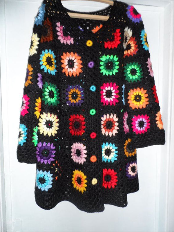 Black Crocheted Casual V Neck Sweaters