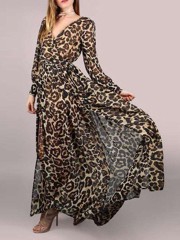 Women Leopard V Neck Long Sleeve Chiffon Maxi Dresses