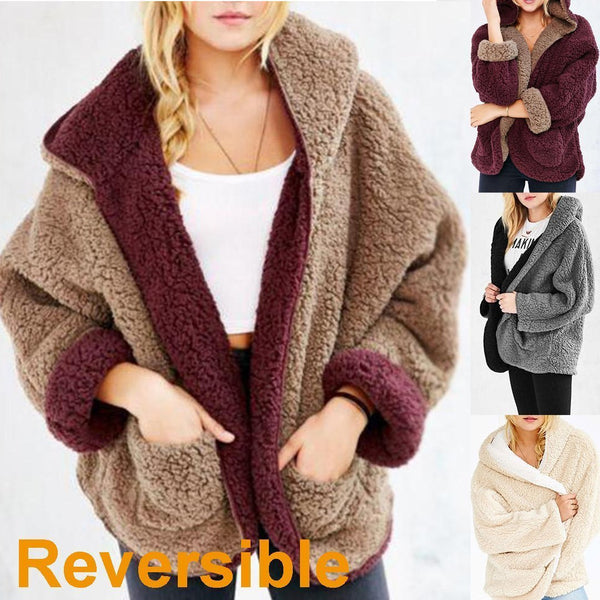 Dreamfitting Reversible Faux Fur Long Sleeve Hooded Coat & Cardigan