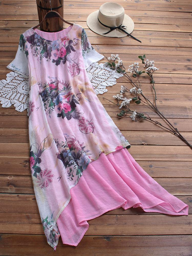 Vintage Print Floral Patch Asymmetrical Dress With Side Pockets
