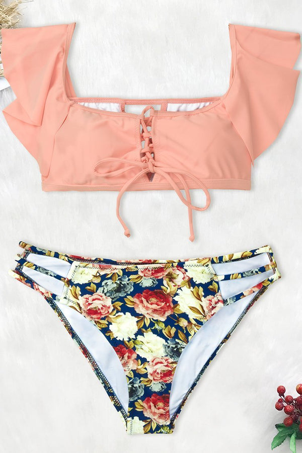 Pink And Floral Lace-Up Bikini