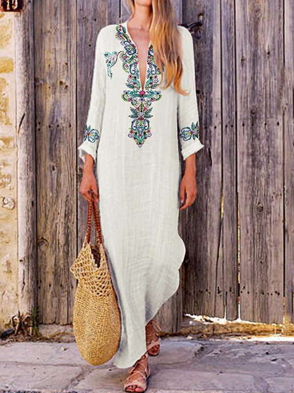 Casual Long Sleeve Cotton-Blend Maxi Dresses