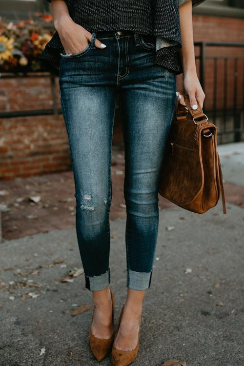Dreamfitting  High Waist Casual Ripped Holes Skinny Jeans