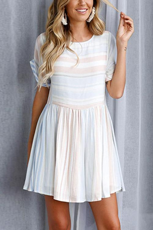 Dreamfitting Zuri Baby Blue Stripe Mini Dress