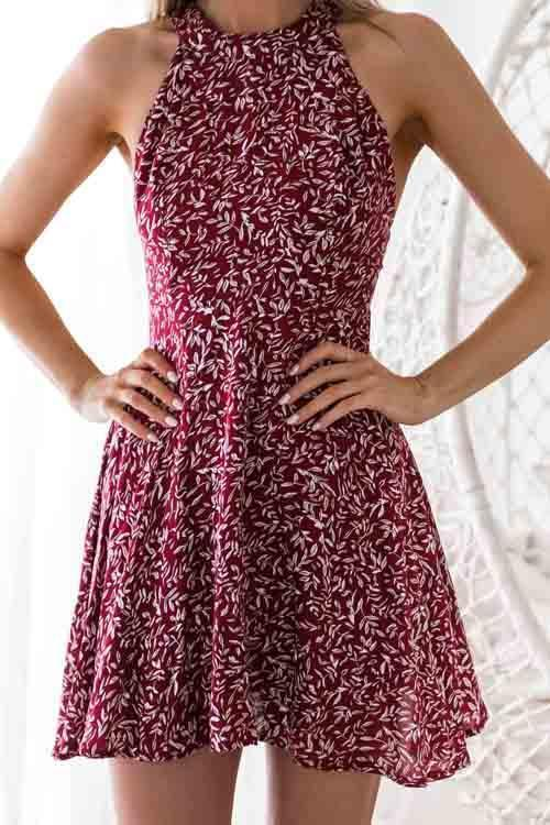 Dreamfitting in Sexy Printed Hollow-out Wine Red Mini Dress