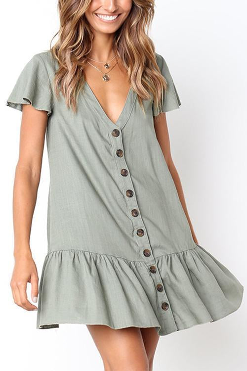 Dreamfitting V Neckline Button Down Relaxed Mini Dress
