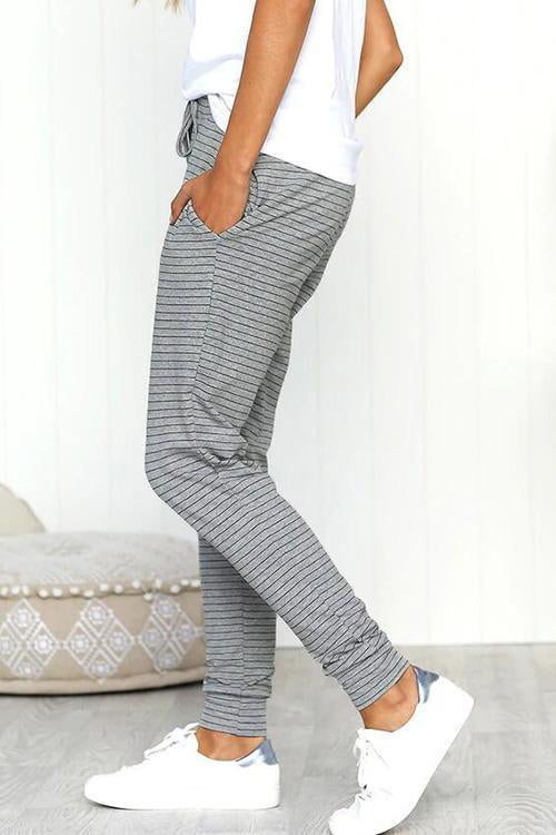 Dreamfitting Casual Striped Frenulum Grey Pants