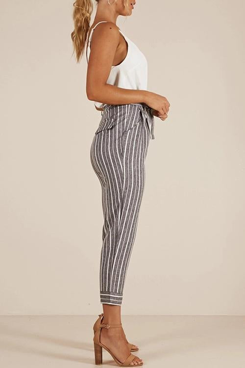 Dreamfitting Casual Grey belted striped pants