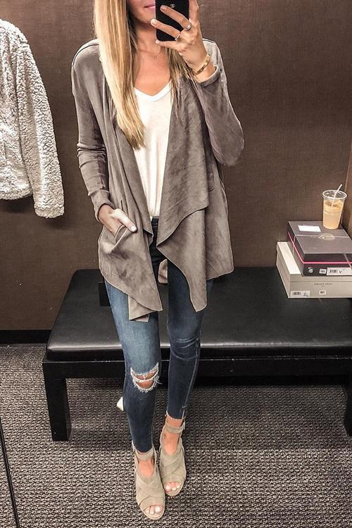 Dreamfitting Turn-Down Faux Leather Cardigans