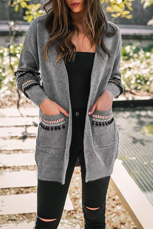 Dreamfitting Bohemian Tassel Grey Cardigan Sweaters